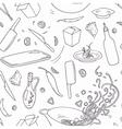 Hand drawn wok restaurant seamless pattern vector image