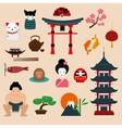 Japan landmark travel icons elements vector image