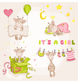 Baby Girl Giraffe Set - Baby Shower Card vector image vector image