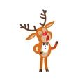 Deer Singing Song Isolated on White Reindeer vector image