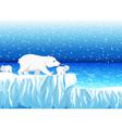 funny polar bear family with snow mountain vector image