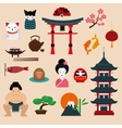 Japan landmark travel icons elements vector image