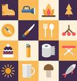 Set of Flat Style Travel Icons Tourism Travel vector image