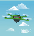 sky landscape background robot drone with four vector image