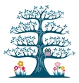 Decorative blue tree silhouette vector image