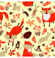 Fall season background with fox rabbit mouse vector image