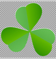 leaf clover sign dark green icon on transparent vector image