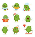 cute cactus cartoon characters set cacti vector image vector image