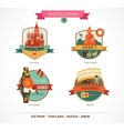 World Cities labels - Moscow Phuket Madrid Hanoi vector image vector image