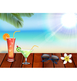 Relax with drinks juice on beach vector image