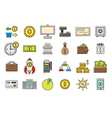 Colorful banking icons set vector image vector image