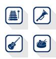 flat design icons music set vector image