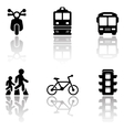 road symbols set with reflection vector image