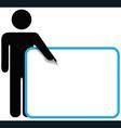 Symbol person stick figure points finger sign copy vector image