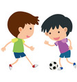 two boys playing soccer vector image