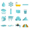 water icons set in flat style vector image