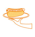 fast food hot dog sausage and mustard dinner vector image