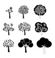 black tree icons vector image