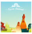 farm animal and rural landscape with chicken vector image