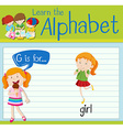 Flashcard alphabet G is for girl vector image