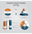 Set of infographics design template with 3 options vector image