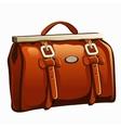 Vintage brown leather handbag closeup vector image