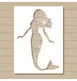 stencil template of mermaid on wooden background vector image