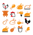 Chicken fried chicken legs food icons set vector image