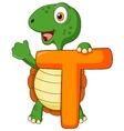 Alphabet T with turtle cartoon vector image