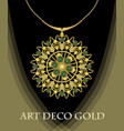 luxurious art deco necklace with green gems vector image vector image