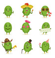 cute cactus cartoon characters set cacti vector image