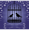 Birdcage-on-blue-floral-background vector image