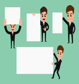 Set of businessman holding blank paper vector image
