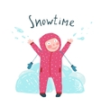 Cute Child Girl in Winter Clothes Playing with vector image