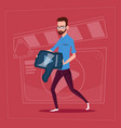 man hold thumb down modern video blogger vlog vector image