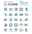 Set Flat Line Icons Upgrading Computer vector image