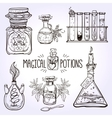 Set of beautiful ornate potion bottles vector image