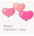 Three flying hand drawn heart balloons vector image