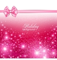 Gorgeous holiday background with pink bow and copy vector image