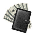 leather wallet with dollars on white vector image vector image