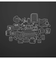 Black and white doodle sketch icons set vector image