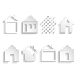 white paper house icons vector image