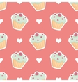 Tile pattern cupcake and hearts on pink background vector image