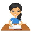 cute little asian student girl writing vector image vector image
