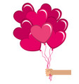 balloons air with heart shape vector image