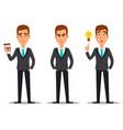 business man cartoon character set vector image