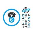 Euro Champion Medal Flat Icon with Bonus vector image