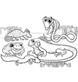 Reptiles and amphibians coloring page vector image