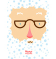 Santa Claus with white beard and blue snowflakes vector image