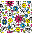 skull seamless pattern day of the dead cute floral vector image